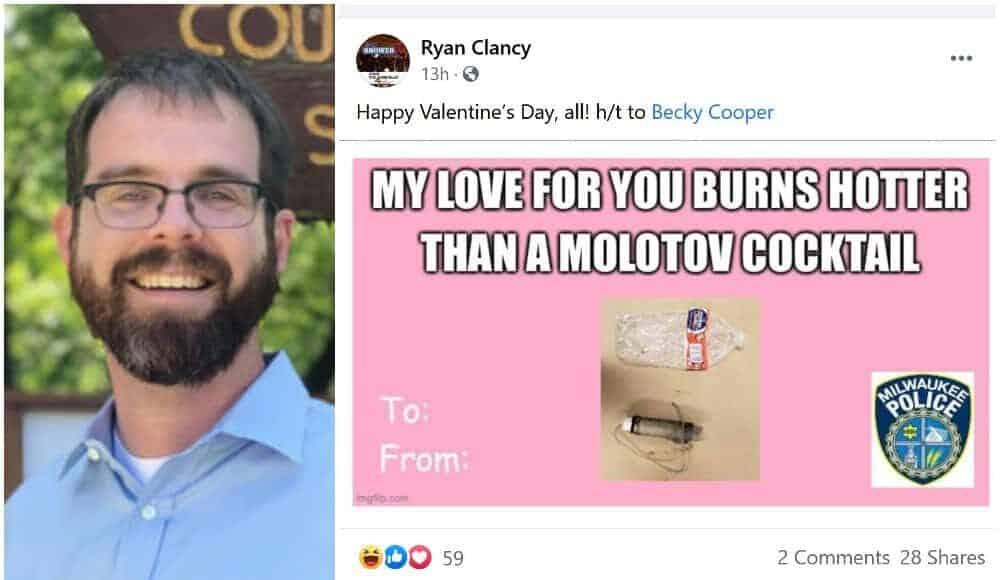 Ryan Clancy Posts Molotov Cocktail