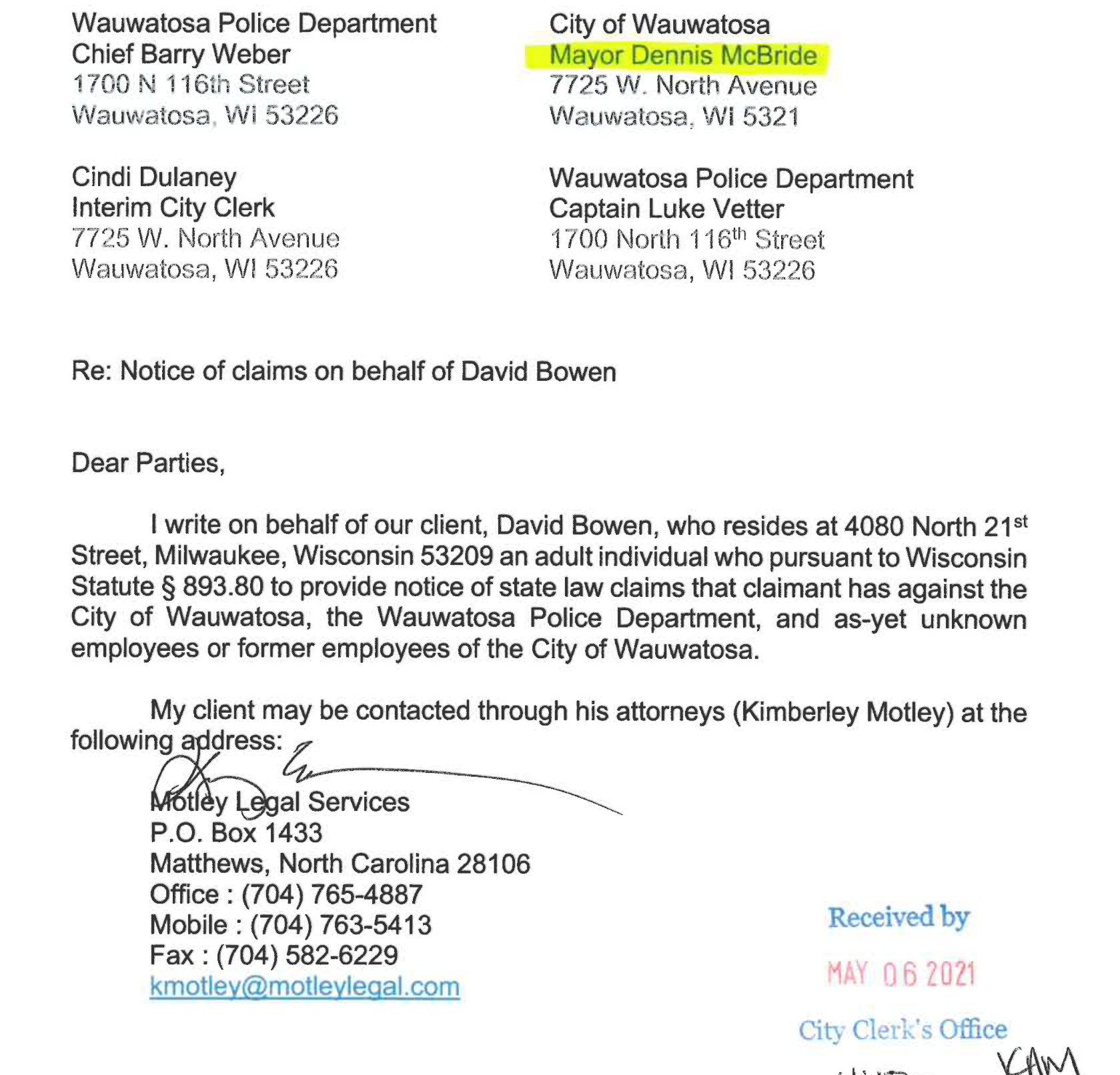 Bowen files claim