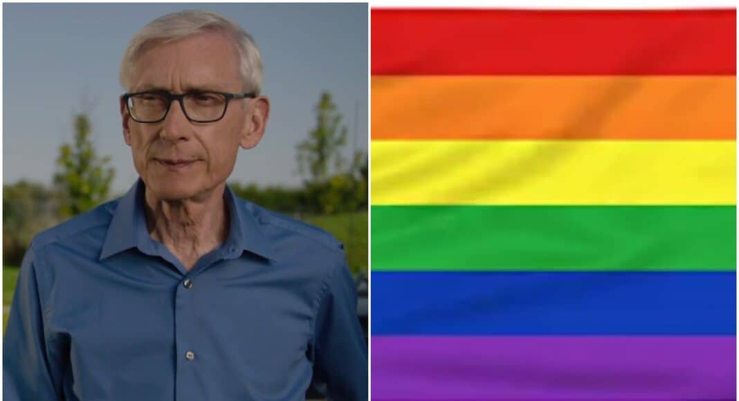 tony evers rainbow pride flag