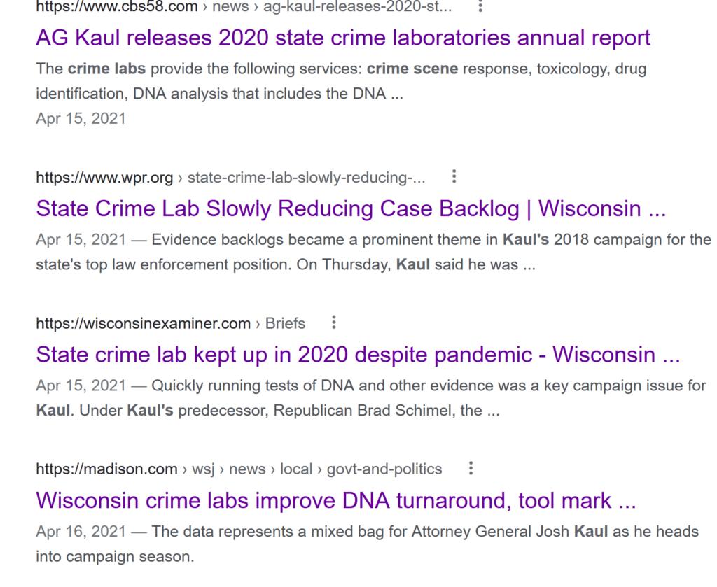 Wisconsin crime lab